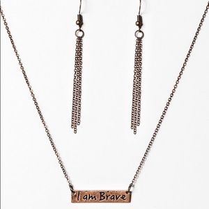 I Am Brave Necklace and Earrings